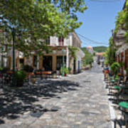 Greek Village Plaza Art Print