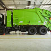 Green Garbage Truck Maintenance Art Print by Don Mason