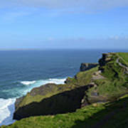 Green Grass On The Sea Cliff's In Ireland Art Print