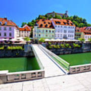 Green Ljubljana Riverfront Panoramic View Art Print