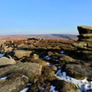 Gritstone Rocks On Hathersage Moor, Derbyshire County Art Print