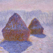 Haystacks, Snow And Sun Effect Art Print