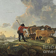 Herdsmen Tending Cattle Art Print