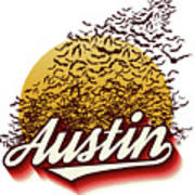 Congress Avenue Bridge Bats Take Flight In Austin Texas Art Print