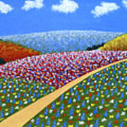 Hills Of Flowers Art Print