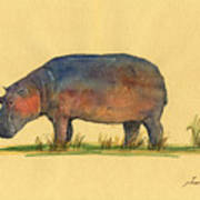 Hippo Watercolor Painting  Art Print