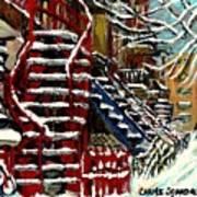Escaliers De Montreal Ville De Verdun Best Original Montreal Paintings On Sale Peintures  Art Print