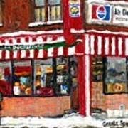Original Montreal Paintings For Sale Peintures A Vendre Restaurant La Quebecoise Deli Art Print