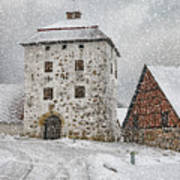 Hovdala Castle Gatehouse In Winter Art Print