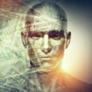 Human Man Face And Dollars Double Exposure. Art Print