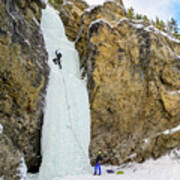 Ice Climbers On A Route Called Professor Falls Rated Wi4 In Banf Art Print