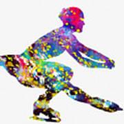 Ice Skater-colorful Art Print