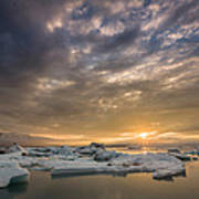 Icebergs On The Jokulsarlon Glacial Art Print