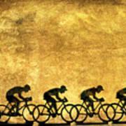 Illustration Of Cyclists Art Print by Bernard Jaubert