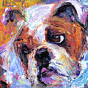 Impressionistic Bulldog Painting  Art Print