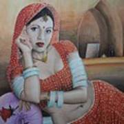 Indian Rajasthani Woman Art Print