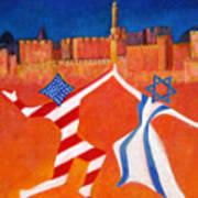 Israel And Usa Dancing Art Print by Jane  Simonson