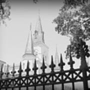 Jackson Square Fence With St. Louis Cathedral In Background Art Print