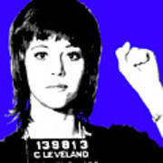 Jane Fonda Mug Shot - Blue Art Print