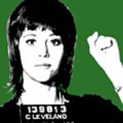 Jane Fonda Mug Shot - Green Art Print