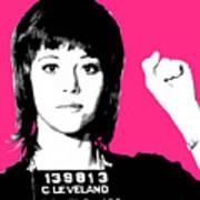 Jane Fonda Mug Shot - Pink Art Print