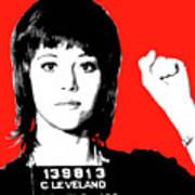 Jane Fonda Mug Shot - Red Art Print