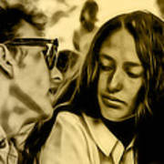 Joan Baez With Bob Dylan Art Print
