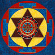 Kameshvari Yantra Blessings Sacred 3d High Relief Artistically Crafted Wooden Yantra  23in X 23in Art Print