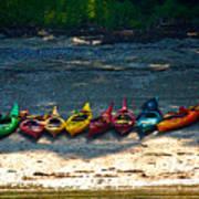Kayaks In A Row Art Print