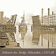 Kilbourn Avenue Bridge, Milwaukee, Wisconsin, 1915-1920, Vintage Art Print