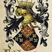 King Of England Coat Of Arms - Livro Do Armeiro-mor Print by Serge Averbukh