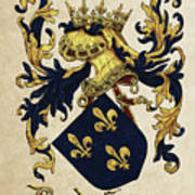 King Of France Coat Of Arms - Livro Do Armeiro-mor  Print by Serge Averbukh