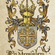 Kingdom Of Jerusalem Coat Of Arms - Livro Do Armeiro-mor Print by Serge Averbukh