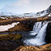 Kirkjufellsfoss Waterfalls Iceland Art Print