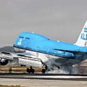 Klm Royal Dutch Airlines Boeing 747 Airplane Landing At San Francisco Airport In San Francisco, Cali Art Print