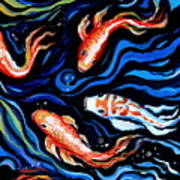 Koi Fish In Ribbons Of Water Art Print