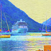 Kotor Harbor Art Print