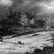 Krieghoff: Canoe On Rapids Art Print