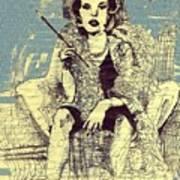 La Femme Qui Fume Apres Kevin Montague Art Print
