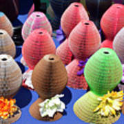 Ladies Collapsible Straw Hats At The Cove Marketplace At Port Ca Art Print