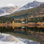Lake Cabins In Fall Art Print
