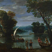 Landscape With A River And Boats Art Print