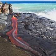 Lava Flowing Into Ocean, Hawaii Art Print