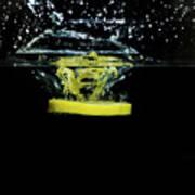 Lemon Dropped Into Water  Art Print