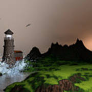 Lighthouse Landscape By John Junek Fine Art Prints And Posters Art Print