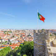 Lisbon Castle Flag Art Print