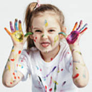 Little Girl Covered In Paint Making Funny Faces. Art Print