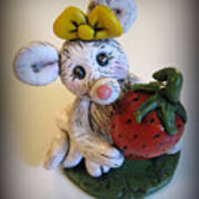 Little Mouse Big Strawberry Art Print by Trina Prenzi