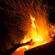 Log Campfire Burning At Night Art Print