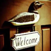 Loon Welcome Sign On Cottage Door Art Print